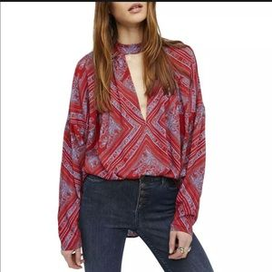 Free People walking on dream red tunic revolve xs
